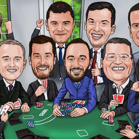 Poker Groomsmen Gift Caricature from Photos - example