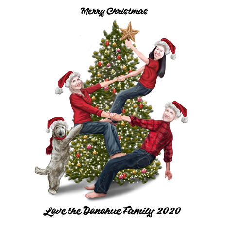 Christmas Family Caricature Card with Christmas Tree - example