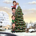 Family Christmas Karikatuur example 9