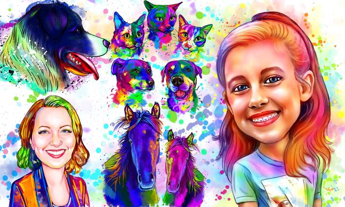 Rainbow Watercolor Portraits large example