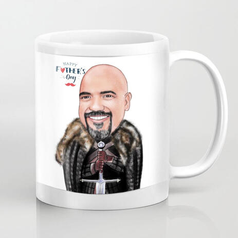 Custom Man Viking Caricature Mug Gift on Father's Day - example
