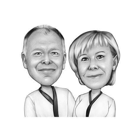 Martial Arts Couple Sports Caricature in Black and White Style - example