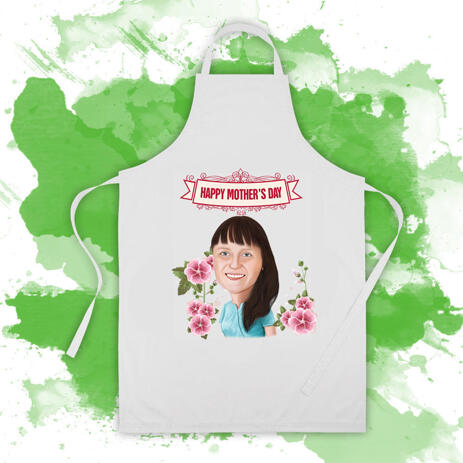 Cook Apron: Woman Caricature Drawing from Photo on Mother's Day - example