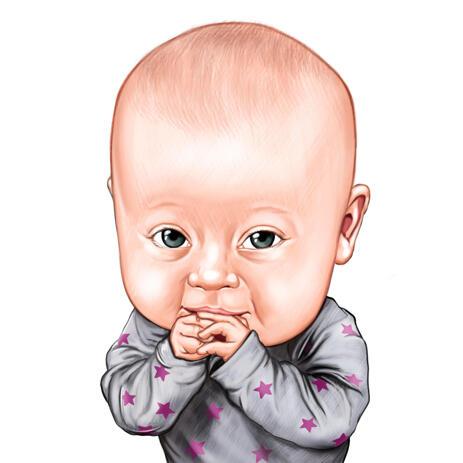 Käsin piirretty muru vauvan lapsen karikatyyri muotokuva valokuvasta värityyliin - example