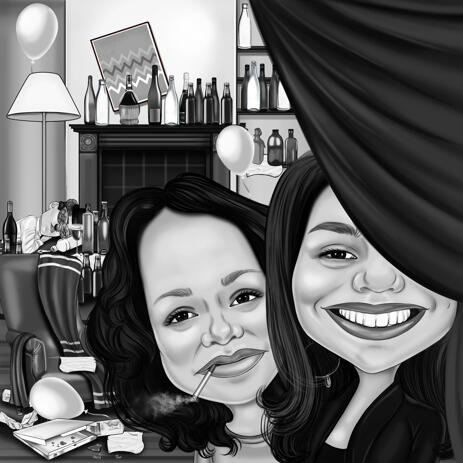Exaggerated Style Caricature as Birthday Gift Idea for Colleague in Hand-Drawn Monochrome Sketch - example