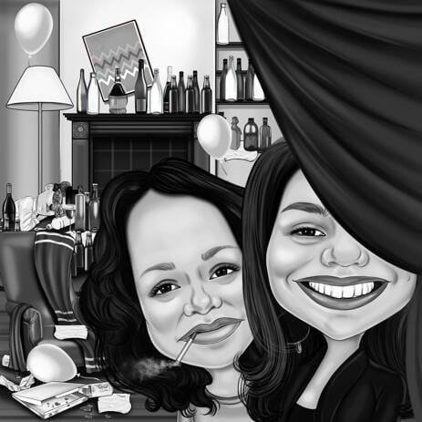Přehnaná karikatura stylu jako nápad na narozeninový dárek pro kolegu v ručně tažené černobílé skice - example