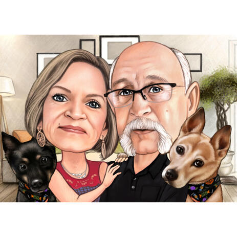 Couple with Pets in Colored Style with Custom Background - example