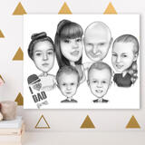 Canvas Print: Family Group Cartoon Drawing