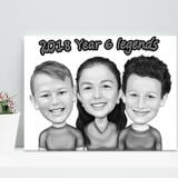 Children Caricature Printed on Canvas
