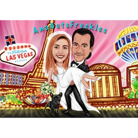 Las Vegas Wedding Couple Colorful Cartoon Caricature in Full Body - example