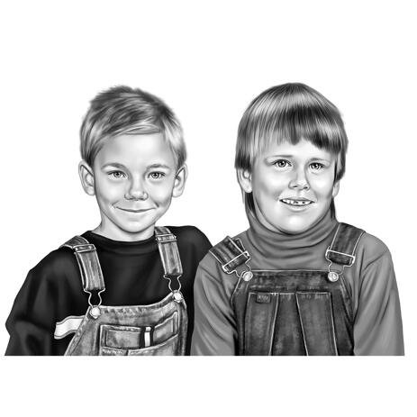 Two Kids Portrait from Photos in Black and White Style - example