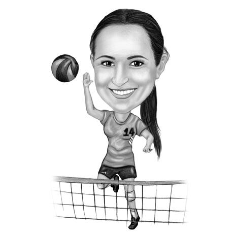 Volleyball Player Caricature from Photos Hand Drawn in Black and White Style - example