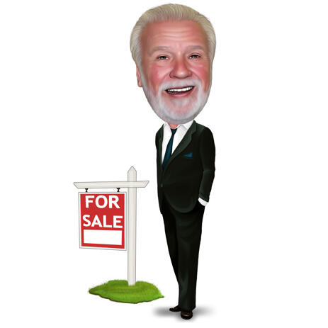 Real Estate Agent Caricature Logo in Colored Style - example