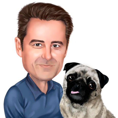 Owner with Pug Cartoon Portrait in Colored Style Hand Drawn from Photos - example