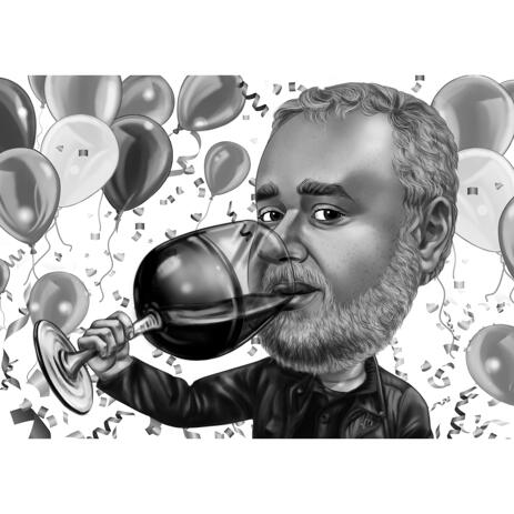Birthday Gift Idea for Boss - Winery King Caricature in Black and White Digital Style - example