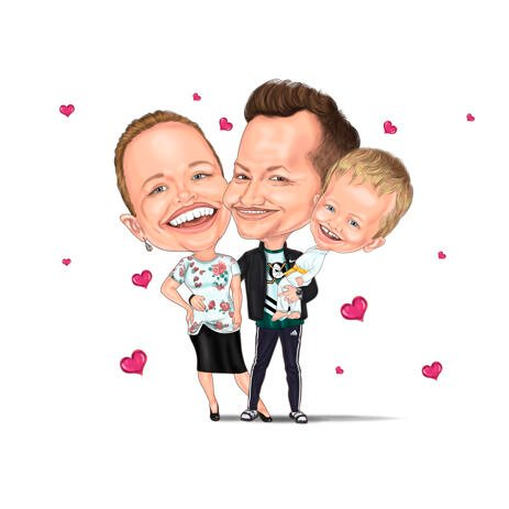 Highly Exaggerated Family Caricature from Photos - example