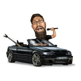 Person in Car Caricature from Photos on White Background
