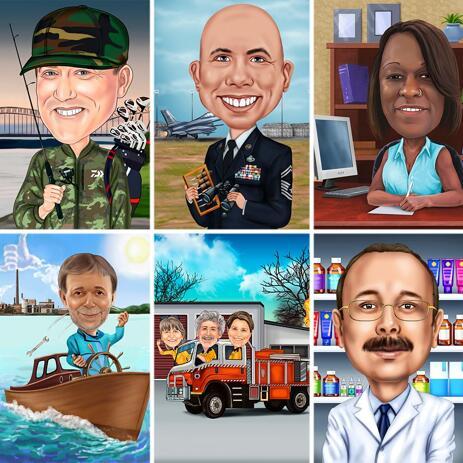 Qualsiasi caricatura di professione che disegna stile colorato con fondo su ordinazione - example