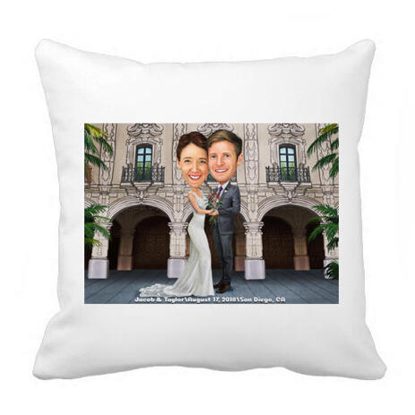 Newlyweds Caricature Drawing on Pillow - example