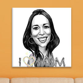 Print on Canvas: Custom Caricature Drawing in Black and White Pencils