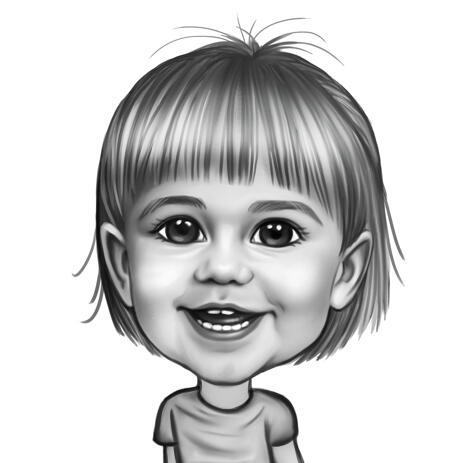 Kid's Exaggerated Black and White Sketching Photo into Caricature Hand Drawn Art - example