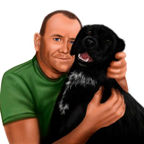 Owner with Dog Portrait in Colored Style Hand Drawn from Photos - example