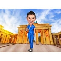Full Body Nurse Caricature Gift from Photos with Custom Background