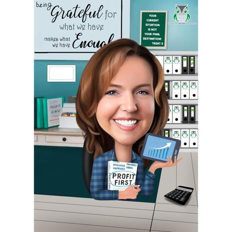 Profit Financial Staff Solutions Provider Caricature personnalisée d'entraîneur féminin dans un style coloré - example