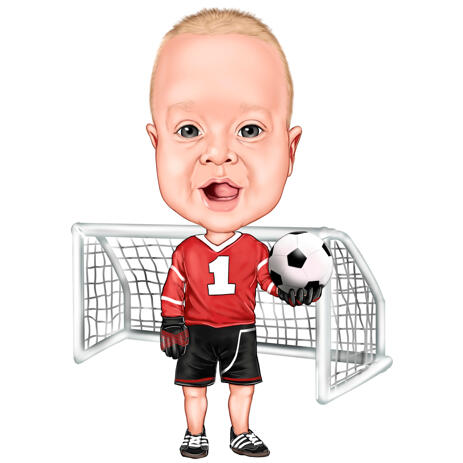 Kid Baby Boy Football Soccer Player Caricature from Photos - example