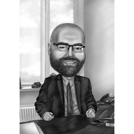 Manager in Office Black and White Caricature from Photos - example
