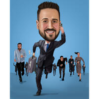 Funny Busy Boss Caricature Gift in Color Style from Photos