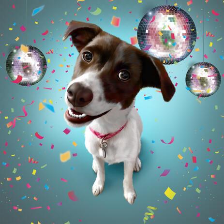 Цветная карикатура собаки в цифровом стиле - example