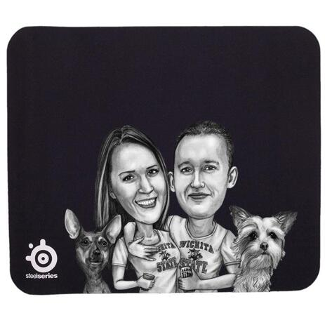 Group Pets Caricature Mouse Pad - example