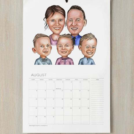 Family Portrait Caricature Print on Calendar - example