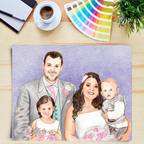 Wedding Family Portrait from Photos with Colored Background as Custom Poster Print Gift - example