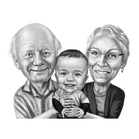 Grandparents with Kid Caricature from Photos in Black and White Style - example