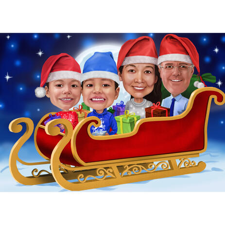 Family in Santa's Sleigh Caricature for Christmas Card - example