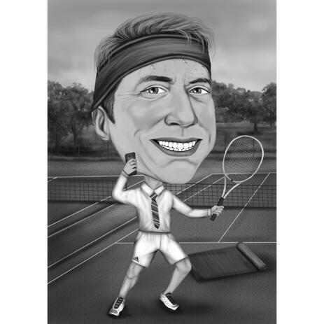 Black and White High Exaggerated Man Tennis Player Caricature with Custom Background - example