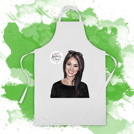 Full Apron: Printed Woman Portrait Drawing on Apron as Mother's Day Gift Idea - example