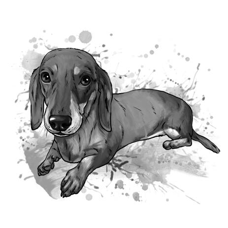 Graphite Dachshund Portrait in Full Body, Watercolor Style - example