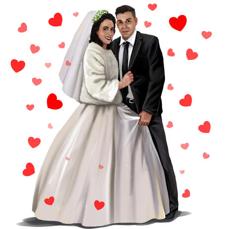 True-Hearted Couple Wedding Portrait in Colored Style from Photos - example