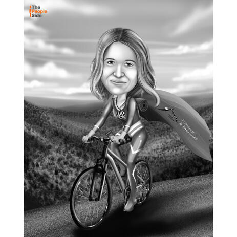 Person Riding Bicycle: Black and White Style - example