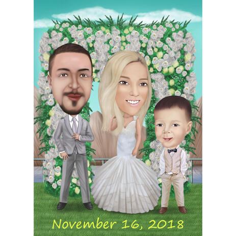 Wedding Family Caricature from Photos - example