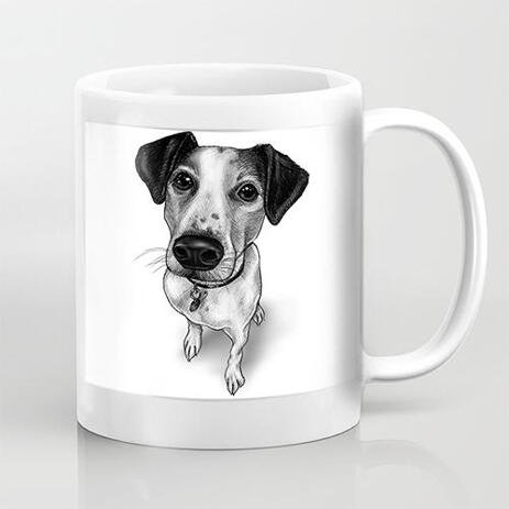 Full Body Pet Caricature Hand Drawn from Photos in Black and White Style Printed on Mug - example