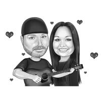 Musical Couple Caricature with Guitar in Black and White Style