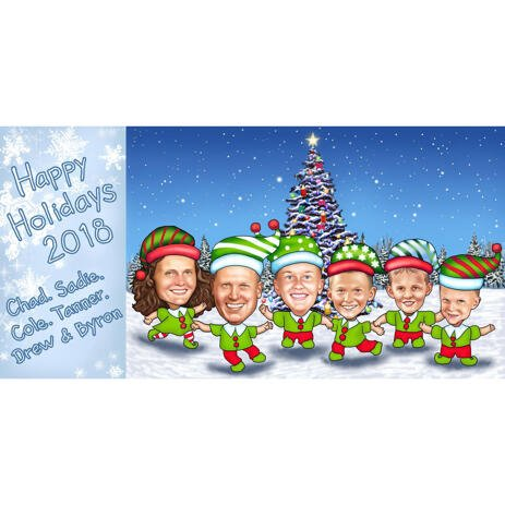 Family Elves Christmas Caricature from Photos for Xmas Card - example