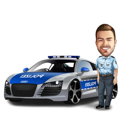 Police Officer Caricature with Police Patrol Car - example