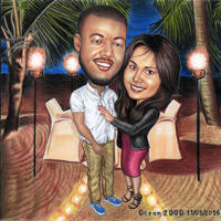Save the Date Couple Vacation Caricature in Color Style on Custom Background