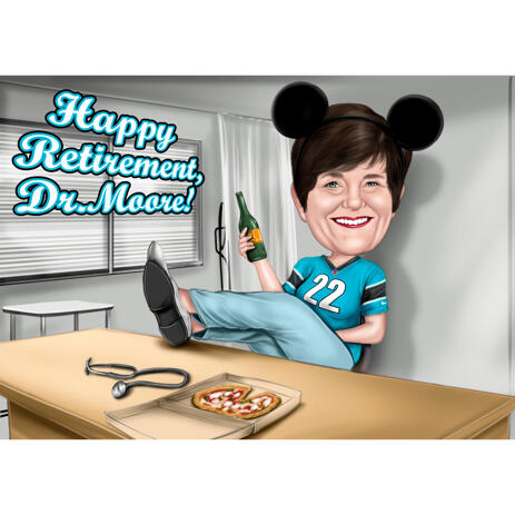 Colored Full Body Caricature Drawing with Custom Background for Pizza Lovers - example