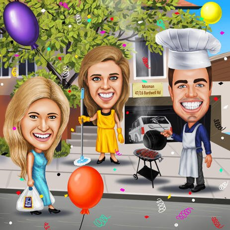 Friendship Birthday Colored Style Caricature Gift from Photos with Custom Background - example